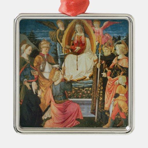 Madonna de la faja sagrada, 1456 (tempera adorno cuadrado plateado