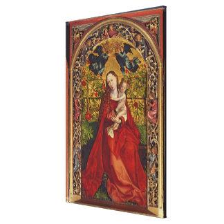 Madonna de la glorieta color de rosa, 1473 impresion de lienzo