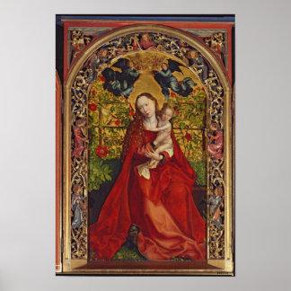 Madonna de la glorieta color de rosa, 1473 póster