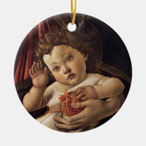 Madonna de la granada adorno redondo de cerámica