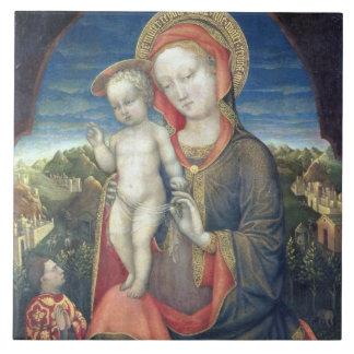 Madonna de la humildad adorado por Leonello d'Este Azulejo Cuadrado Grande
