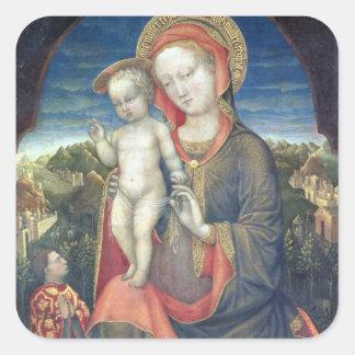 Madonna de la humildad adorado por Leonello d'Este Calcomanías Cuadradass Personalizadas