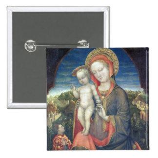 Madonna de la humildad adorado por Leonello d'Este Pin Cuadrado