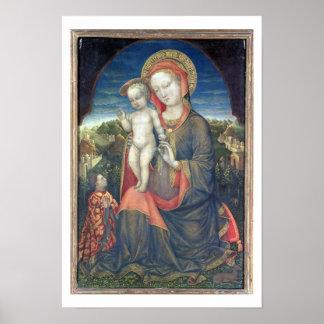 Madonna de la humildad adorado por Leonello d'Este Póster