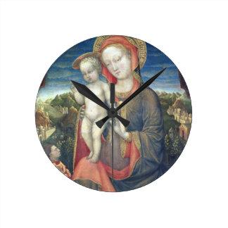 Madonna de la humildad adorado por Leonello d'Este Reloj Redondo Mediano
