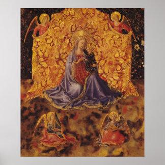 Madonna de la humildad con el niño y los ángeles d póster