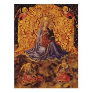 Madonna de la humildad con el niño y los ángeles postal