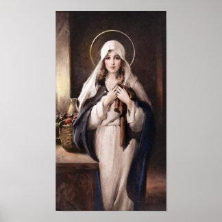 Madonna de la impresión sagrada de la capa - cámar póster