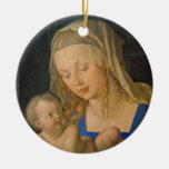 Madonna de la pera adorno navideño redondo de cerámica