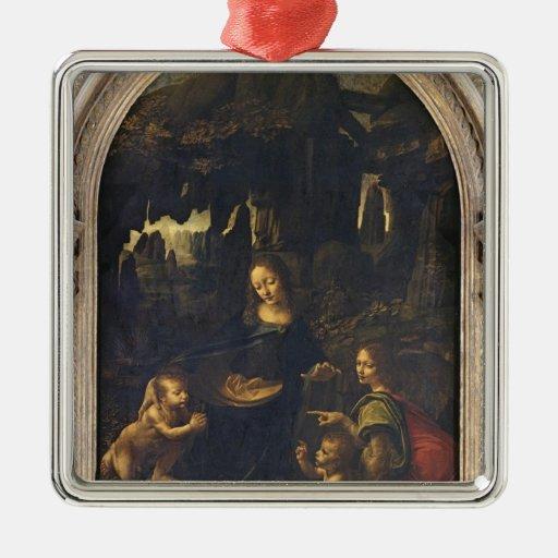Madonna de las rocas, c.1478 adorno navideño cuadrado de metal