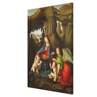 Madonna de las rocas impresión en lona estirada