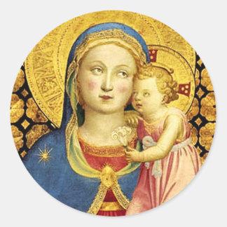 Madonna de los pegatinas de la humildad por Fra Pegatina Redonda