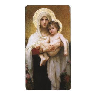 Madonna de los rosas, Bouguereau, realismo del Etiquetas De Envío