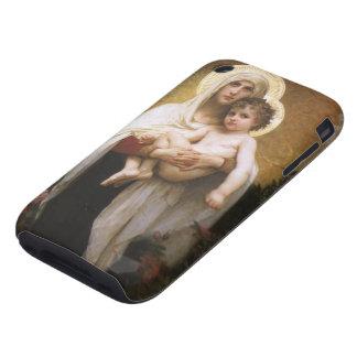 Madonna de los rosas, Bouguereau, realismo del iPhone 3 Tough Cárcasas