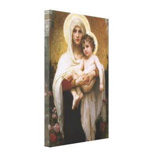Madonna de los rosas, Bouguereau, realismo del Impresiones En Lienzo Estiradas