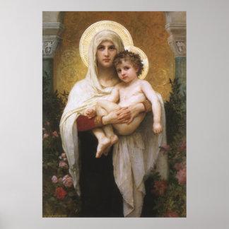 Madonna de los rosas, Bouguereau, realismo del Poster