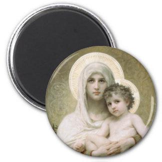 Madonna de los rosas imán redondo 5 cm