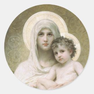 Madonna de los rosas pegatina redonda