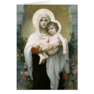 Madonna de los rosas - William-Adolphe Bouguereau Tarjeta De Felicitación