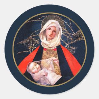 Madonna de Marianne alimenta. Pegatinas del regalo Etiquetas Redondas