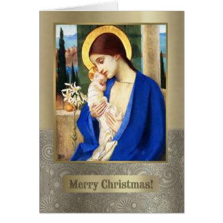 Madonna de Marianne alimenta. Tarjeta de Navidad