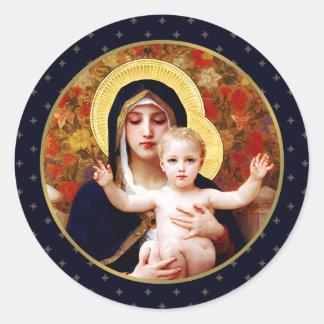 Madonna de W. Bouguereau. Pegatinas del regalo del Pegatina Redonda