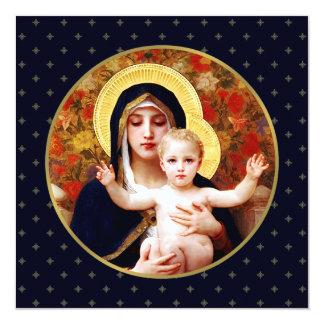 """Madonna de W. Bouguereau. Tarjeta de Navidad Invitación 5.25"""" X 5.25"""""""