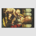 Madonna del clavel de Leonardo da Vinci Rectangular Pegatina