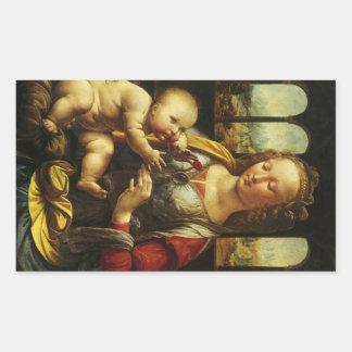 Madonna del clavel de Leonardo da Vinci Pegatina Rectangular