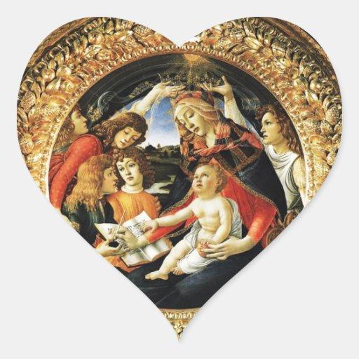 Madonna del corazón de Magnificat Pegatina De Corazón Personalizadas