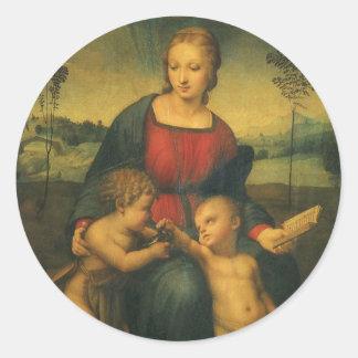 Madonna del Goldfinch, arte renacentista de Pegatina Redonda
