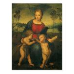 Madonna del Goldfinch, arte renacentista de Postal