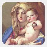 Madonna del Goldfinch Pegatina Cuadrada
