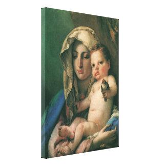 Madonna del Goldfinch por Tiepolo, arte del vintag Impresión En Lienzo Estirada