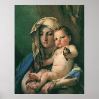 Madonna del Goldfinch por Tiepolo, arte del vintag Impresiones