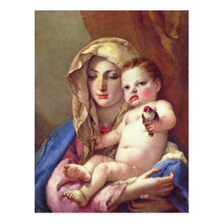 Madonna del Goldfinch Tarjeta Postal