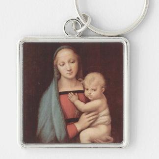 Madonna Del Granduca by Raphael Silver-Colored Square Keychain