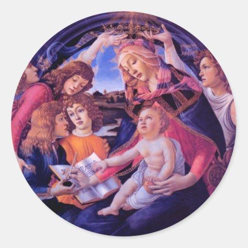Madonna del Magnificat Etiquetas Redondas