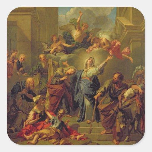Madonna del Magnificat Calcomanía Cuadradas Personalizada