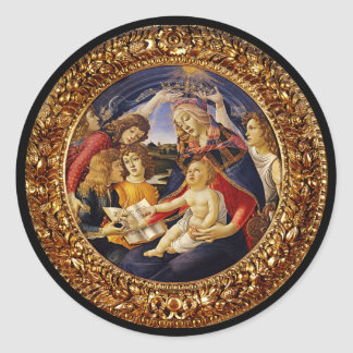 Madonna del Magnificat Pegatina Redonda