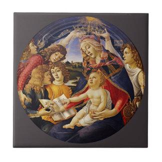 Madonna del Magnificat por Botticelli Azulejo Cuadrado Pequeño