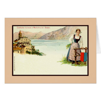 Madonna del Sasso and woman in Ticinese dress Card