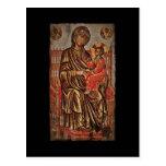 Madonna e icono del niño tarjeta postal