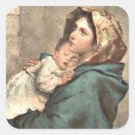 Madonna en bufanda detiene al bebé Jesús Calcomanías Cuadradas