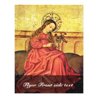 Madonna en el jardín por el amo renano desconocido flyer a todo color