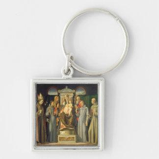 Madonna Enthroned, 1480 (el aceite en el panel) Llavero Cuadrado Plateado