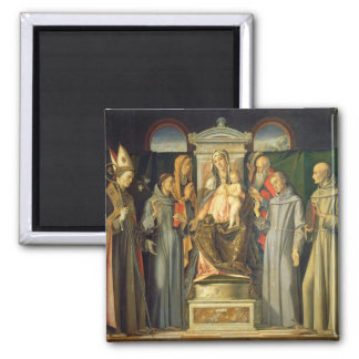 Madonna Enthroned, 1480 (oil on panel) 2 Inch Square Magnet