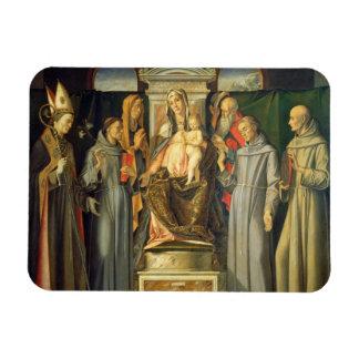 Madonna Enthroned, 1480 (oil on panel) Rectangular Photo Magnet