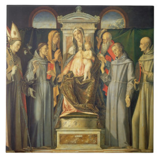 Madonna Enthroned, 1480 (oil on panel) Tile