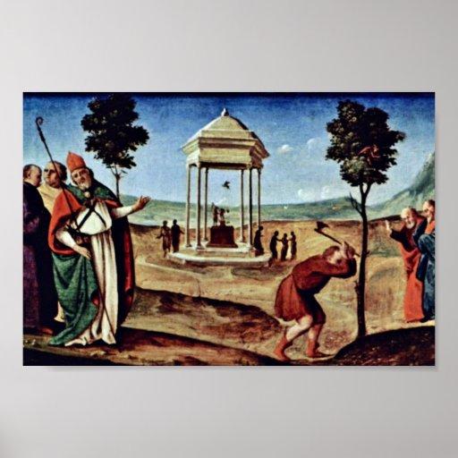 Madonna Enthroned a San Pedro St. John el Bautista Poster